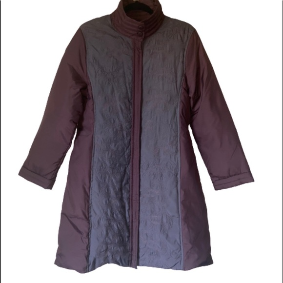Via Spiga Jackets & Blazers - Via Spiga Long Floral Purple Winter Jacket Coat M
